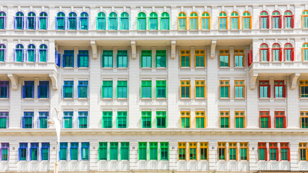 Colorful building of Ministry of culture, community and youth in Singapore.