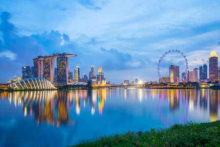 bay: Marina Bay in Singapore at twilight. Stock Photo