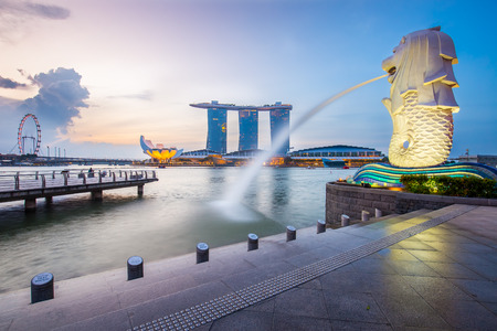 Singapore skyline and Merlion in the morning.