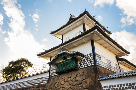 ishikawa: Kanazawa, Japan - February 15, 2015: Kanazawa Castle is a large, well-restored castle in Kanazawa, Ishikawa Prefecture, Japan. It is located adjacent to the celebrated Kenroku-en Garden, which once formed the castles private outer garden. Editorial