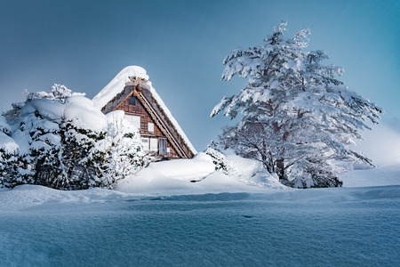 The Shirakawago village in winter, Japan.