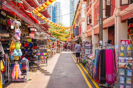 chinatown: Singapore City, Singapore: July 17, 2015: Singapores Chinatown is an ethnic neighbourhood featuring distinctly Chinese cultural elements and a historically concentrated ethnic Chinese population. Chinatown is located within the larger district of Outram.