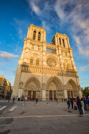 notre: The sunset at Cathedral of Notre Dame in Paris, France.