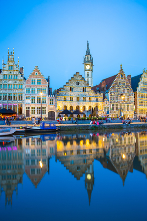 gent: The twilight of Ghent in Belgium.