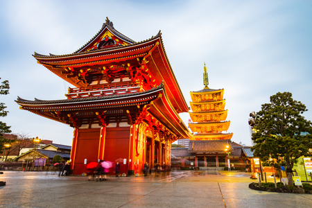 Tokyo, Japan - February 17, 2015: Senso-ji is an ancient Buddhist temple located in Asakusa, Tokyo, Japan. It is Tokyo's oldest temple, and one of its most significant. Formerly associated with the Tendai sect of Buddhism, it became independent after Worl
