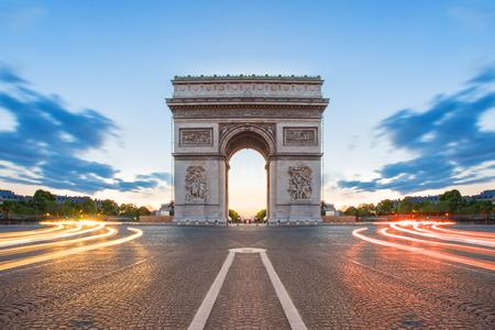 champs elysees: Arc de Triomphe in Paris, France.