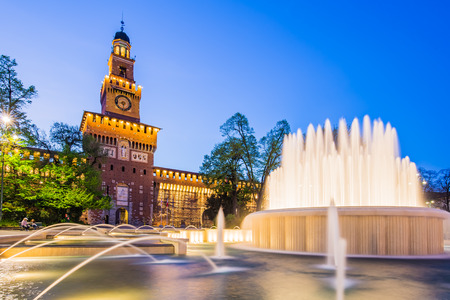 sforza: Milan, Italy - April 14, 2015 : The Sforza Castle is a castle in Milan, northern Italy. It was built in the 15th century by Francesco Sforza, Duke of Milan, on the remains of a 14th-century fortification. Editorial