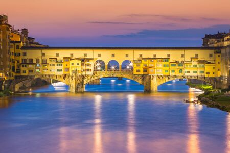 ponte: Twilight at Ponte Vecchio in Florence, Italy. Stock Photo