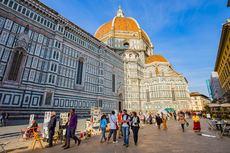 florence italy: Florence, Italy - April 10, 2015: Piazza della Signoria is an L-shaped square in front of the Palazzo Vecchio in Florence, Italy.