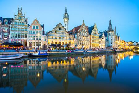 The twilight of Ghent in Belgium.