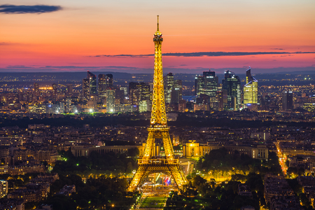 Eiffel: Paris, France - May 14, 2014: Panorama view of the Eiffel Tower at night. It was named after the engineer Alexandre Gustave Eiffel.