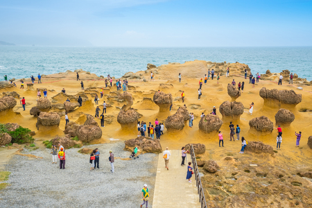 Yehliu Geopark in the town of Wanli, New Taipei, Taiwan. 写真素材