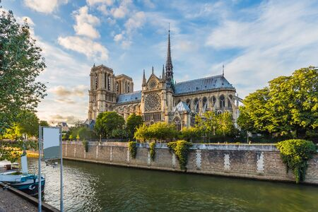 notre: Sunset at the Cathedral of Notre Dame in Paris, France. Stock Photo