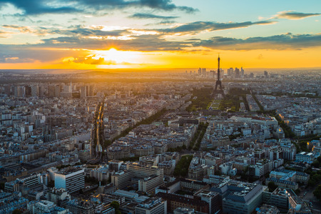 Paris skyline at sunset in France.
