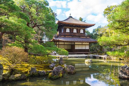 Kyoto, Japan - December 31, 2015: The Buddhist temple Ginkaku-ji is the symbol of Kyoto and one of the most famous temples in all of Japan attracting thousands of tourists daily. 版權商用圖片 - 51588055
