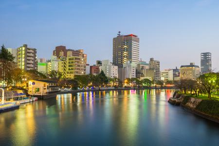 Hiroshima skyline cityscape in Japan