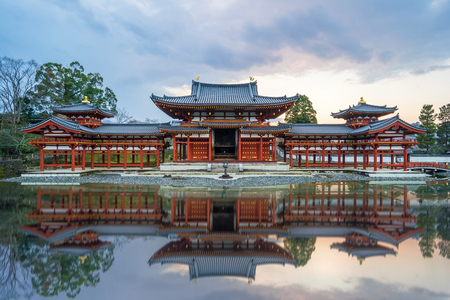 jointly: Kyoto Japan- December 31 2015: Byodo-in is a Buddhist temple in the city of Uji in Kyoto Prefecture Japan. It is jointly a temple of the Jodo-shu Pure Land and Tendai-shu sects.