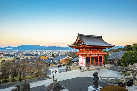 dera: Kyoto, Japan - December 31, 2015: Kyoto Skyline view from Kiyomizu dera. Kiyomizu-dera is an independent Buddhist temple in eastern Kyoto.