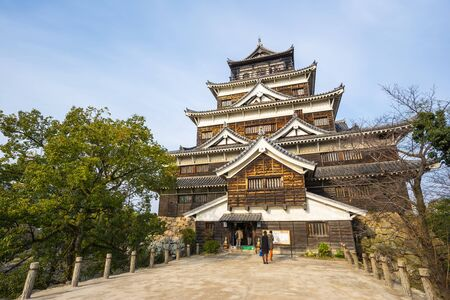 wor: Hiroshima, Japan - January 2, 2016: Hiroshima castle was constructed in the 1590s, but was destroyed by the atomic bombing on 6 August 1945. It was rebuilt in 1958, a replica of the original which now serves as a museum of Hiroshimas history prior to Wor