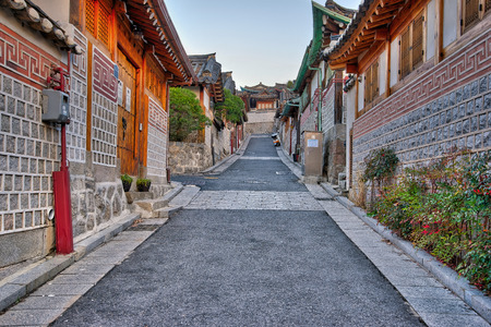 Bukchon Hanok Village à Séoul, Corée du Sud. Banque d'images
