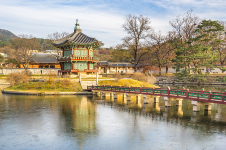 gyeongbokgung: Seoul, South Korea - December 6, 2015: Gyeongbokgung also known as Gyeongbokgung Palace was the main royal palace of the Joseon dynasty. Built in 1395, it is located in northern of Seoul. Stock Photo