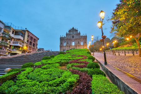 Ruines de St. Paul à Macao, en Chine. Banque d'images - 56443578