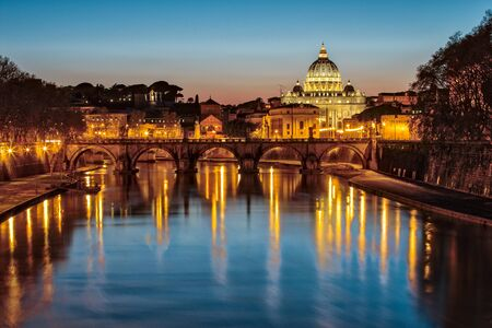 and saint: Saint Peters Basilica in Vatican City State at Night.