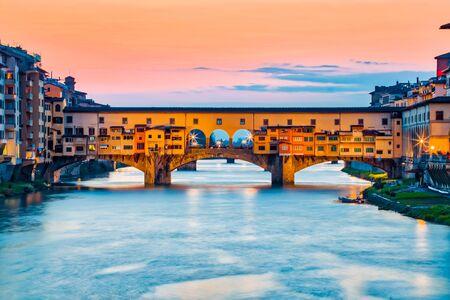 ponte: The Ponte Vecchio bridge in Florence, Italy. Stock Photo