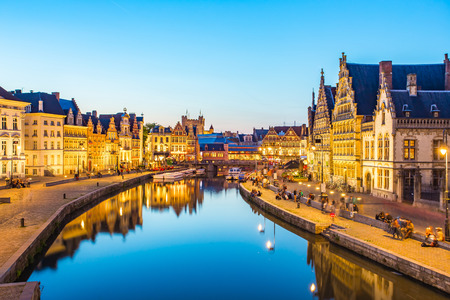Panorama view of Ghent canal in Belgium. Stock Photo