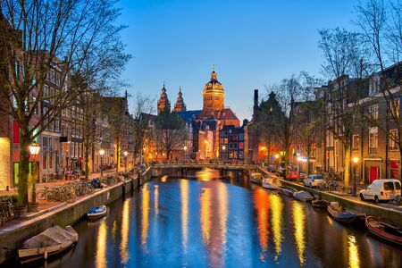 dutch canal house: Amsterdam canals with bridge and typical dutch houses in Netherlands.