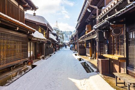 일본의 다카야마 고대 도시의 겨울.