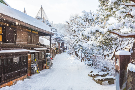 Winter in Takayama ancient city in Japan.