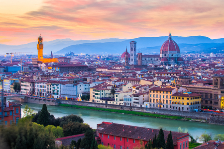 Florence skyline at night in Italy.
