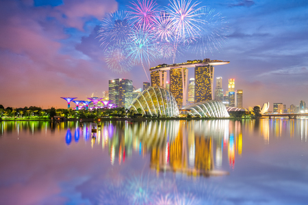 Singapore national day fireworks celebration.