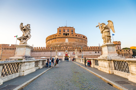 Rome, Italy - April 8, 2015: The Mausoleum of Hadrian, usually known as Castel SantAngelo is a towering cylindrical building in Parco Adriano, Rome, Italy. Editorial