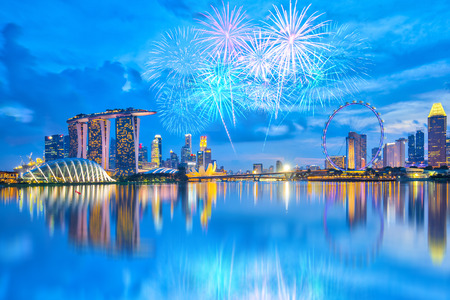 Fireworks with view of the Singapore city at night.