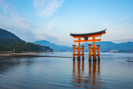 The Floating Torii gate in Miyajima, Japan.