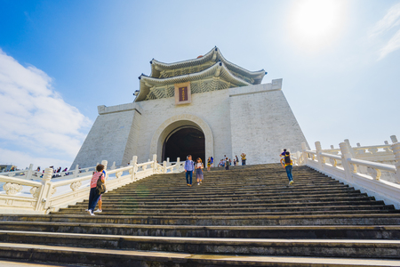 shek: Taipei, Taiwan - October 25, 2015: The Chang Kai Shek (CKS) Memorial Hall landmark in Taipei, Taiwan