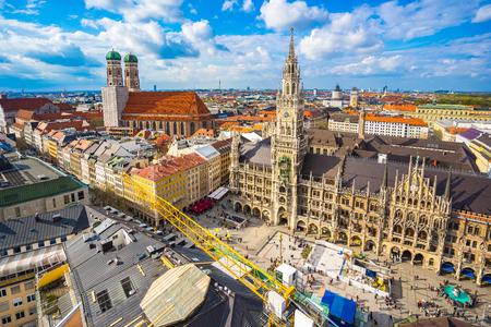 town halls: Aerial view of Marienplatz town hall in Munich, Germany.