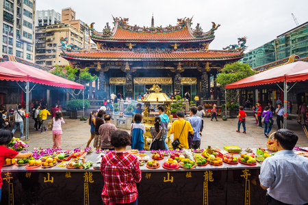 ravel: Taipei, Taiwan - October 24, 2015: The Taipei lungshan Temple in Taiwan. Editorial