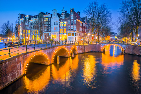 canal house: View of Canal House at night in Amsterdam, Netherlands.