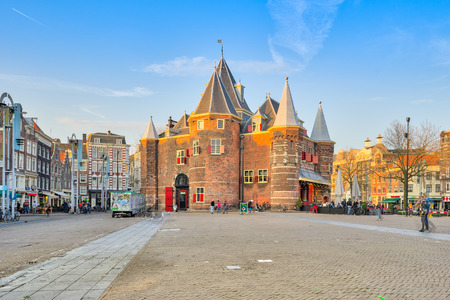 nightspot: Amsterdam, Netherlands - April 13, 2016: The Nieuwmarkt is the lively nightspot and market square Nieuwmarkt, found in the old city centre just east of the Red Light District.