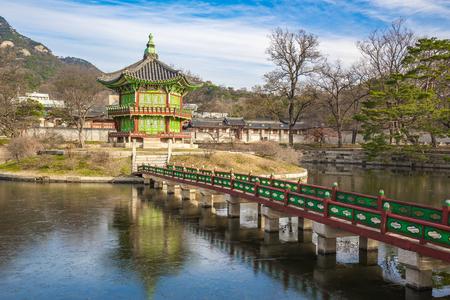 gyeongbokgung: The Pavilion of Far-Reaching Fragrance in Gyeongbokgung Palace complex, Seoul.