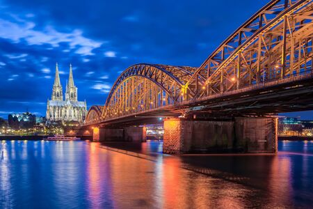 cologne: Night at Cologne Cathedral in Cologne, Germany.
