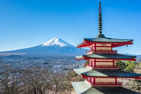 Mt. Fuji with Chureito Pagoda in Kawagushiko near Tokyo, Japan. Éditoriale