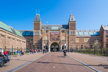 Amsterdam, Netherlands - April 12, 2016: The Rijksmuseum is a Dutch national museum dedicated to arts and history in Amsterdam.