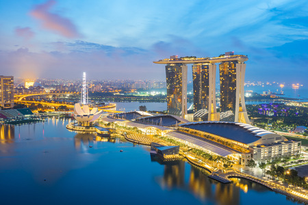 Singapore skyline, view of Singapore city at night in Singapore and view of Marina Bay.