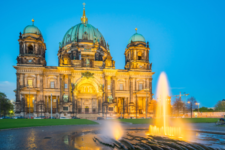 Berlin Cathedral in Berlin, Germany at night.