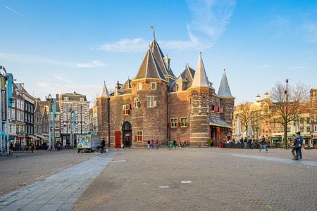 Amsterdam, Netherlands - April 13, 2016: The Nieuwmarkt is the lively nightspot and market square Nieuwmarkt, found in the old city centre just east of the Red Light District.