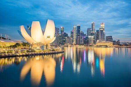 Singapore city skyline at night in Singapore city, Singapore.